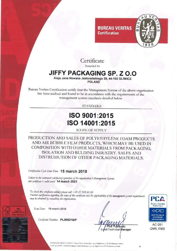 CERTIFICATE - Jiffy Packaging